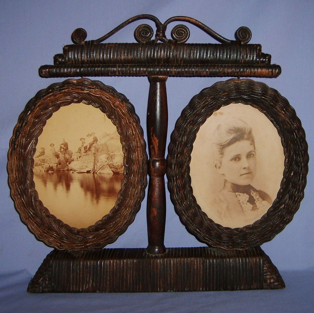 Antique Victorian Woven Wicker Picture Frame Double Large Sepia Photos