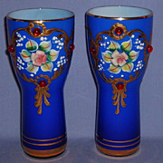 Cobalt Blue Tumbler Glasses Enameled Jeweled Gilded Moser Style Vintage