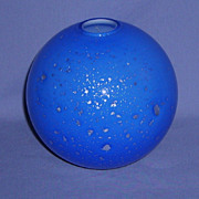 Vintage Cobalt Blue Art Glass Bulbous Vase Silver Mica cased in White