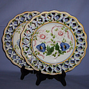 Pair 9� French Faience Reticulated Plates Hand-Painted Ribbon Vintage