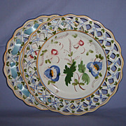 Pair 11� French Faience Reticulated Plates Hand-Painted Ribbon Vintage