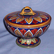 Rubboli Italian Pottery Lustre Pedestal Bowl With Lid Compote