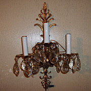 Electric Wall Sconce Crystal Prisms 3-Arm # Light Vintage Spain Very old but brand new!!!