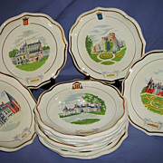 SOLD Gien Castles 12 piece Plate Set French Faience Vintage