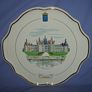 SOLD Gien Chambord Castle 15 Platter French Faience Vintage