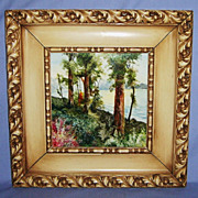 Hand Painted Italian Tile Framed Landscape #1 Artist signed Art Pottery