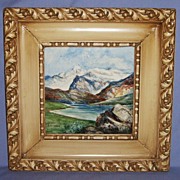 Hand Painted Italian Tile Framed Landscape #2 Artist signed Art Pottery