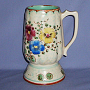 Gouda Holland Viola Tall Mug Floral Signed Hand-painted Pottery