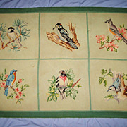 Needlepoint Rug Birds 100% Wool Vintage 34 x 48