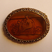 Goldette Venus & Cupid Intaglio Brooch Vintage