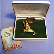 Krementz Hummingbird 14kt Gold-Overlay Brooch in Box Vintage