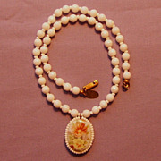 Signed Miriam Haskell Milk Glass Necklace Hand-painted 1969