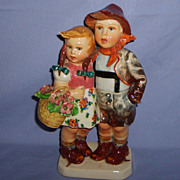 Mollica Italian Figurine Little Boy & Girl Pottery Capodimonte