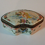 Antique Veuve Perrin French Faience Box Casket Cherub Putti