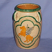 Italian Sgraffito Pegasus Art Pottery Vase Signed PISA circa 1930s