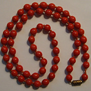 Vintage Carved Salmon Coral Bead Necklace Hand Knotted 25�