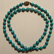 Carved Turquoise Bead Necklace Hand Knotted Asian Silver Clasp 25�