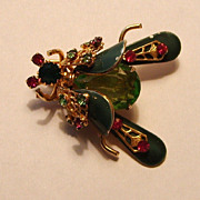 Gorgeous Bee Bug Insect Brooch Rhinestones Enameled Gold-tone