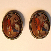 Vintage Porcelain Clip-on Earrings Romantic Couple