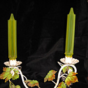 Uranium / Vaseline Stain Glass and Tole Grape Vine Motif Candle Holder