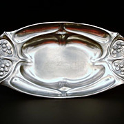 Beautiful Floral Art Nouveau Vanity or Serving Tray - Fruit Bowl - Silver Plated Tin Cherry or