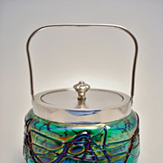 Beautiful Bohemian Cookie or Cracker Jar or Bonboniere - Made from Blue Iridescent Glass with