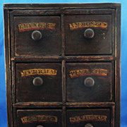 SALE 19th C. English Apothecary Chest in Original Paint