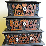 SALE 19th C. Folkart Book Form Chest of 5 Drawers
