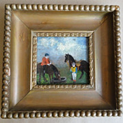 19th C. Folk Art Primitive Oil on Board Horses w/ Children