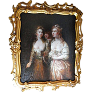 18th Century Oil on Canvas French Ladies in Waiting
