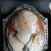 14 Karat White Gold with Diamond Shell Cameo