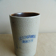 19th C. Blue Decorated Stoneware Mug NORFOLK BEER