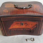 Finest 18th C. Inlaid Marquetry Tea Caddy