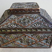 19th C. Chip Carved and Painted Folk Art Trinket Box