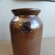 19th C. Manganese Decorated Redware Crock