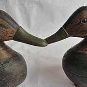 Pair of 1920's Signed New Jersey Black Duck Decoys
