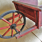 1910 Child's Wheel Barrow Signed Paris, Maine Original Paint