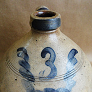 Early Blue Decorated Ovoid 3 gal. Stoneware Jug