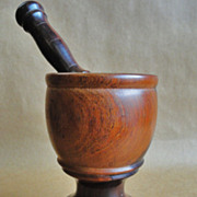 19th C. Lignum Vitae Mortar and Pestle