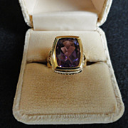 Stunning 14 kt Amethyst Ring w/ Seed Pearls
