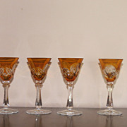 Beautiful Vintage Bohemian Crystal Cut to Clear Amber cordials