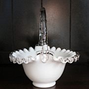 Fenton Milk Glass Silver Crest Basket