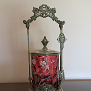 "REDUCED ""SALE"" Beautiful Antique Cranberry Glass Pickle Castor"