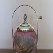 "SALE ""MARK DOWN'  Exquisite Barbour Bros. Burmese glass pickle castor"