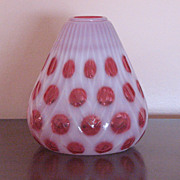 SALE Fenton Cranberry Opalescent Coin Dot Ivy Vase