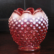 Beautiful Fenton Cranberry Hobnail Rose Vase