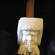 Vintage Collectible hand carved Meerschaum pipe unused