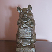 "Hubley Cast Iron Still ""Piggy"" Bank   The Wise Pig"