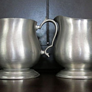 Colonial style Pewter Cream and Sugar Set