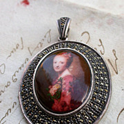 REDUCED French Vintage Hand Painted Porcelain Sterling Silver Pendant Portrait princess louise